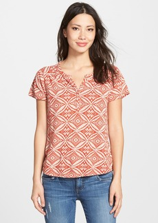 Lucky Brand 'Ikat Circles' Split Neck Top