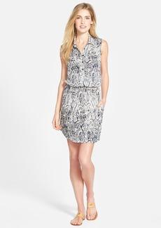Lucky Brand 'Ikat Haze' Print Slub Jersey Blouson Dress
