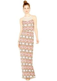 Lucky Brand Ikat-Print Crochet-Detail Maxi Dress
