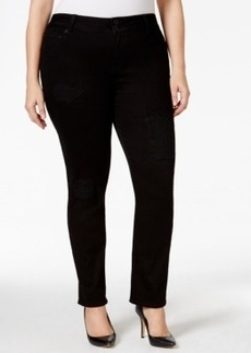 Lucky Brand Jeans Emma Straight-Leg Black Wash Ripped Jeans