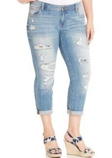 Lucky Brand Jeans Plus Size Ripped Cuffed Boyfriend Jeans