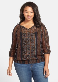 Lucky Brand 'Kaylee' Print Peasant Top (Plus Size)