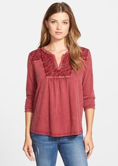 Lucky Brand Lace Detail Cotton Top