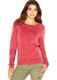 Lucky Brand Lace-Inset-Sleeve Sweater