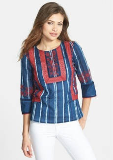 Lucky Brand Lace Inset Stripe Top