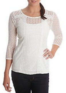 LUCKY BRAND Lace Overlay Top