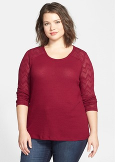 Lucky Brand Lace Sleeve Thermal Knit Tee (Plus Size)