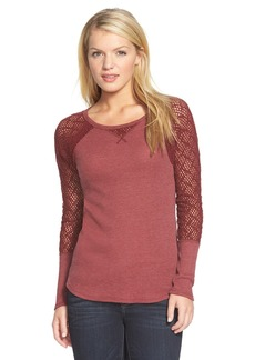 Lucky Brand Lace Sleeve Thermal Tee