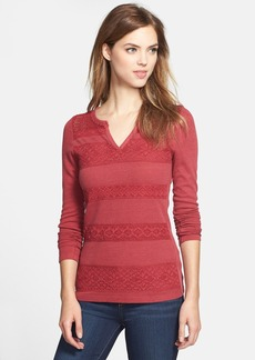 Lucky Brand Lace Stripe Thermal Tee