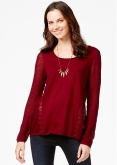 Lucky Brand Lace-Trim Sweater