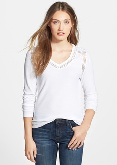 Lucky Brand Lace Trim Thermal V-Neck Tee