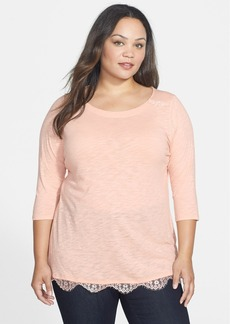 Lucky Brand Lace Trim Top (Plus Size)