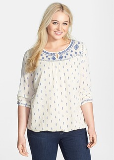 Lucky Brand 'Layton' Embroidered Peasant Top (Plus Size)