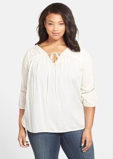 Lucky Brand 'Lily' Peasant Top (Plus Size)