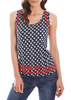 LUCKY BRAND Linen-Blend Contrast-Embroidered Top