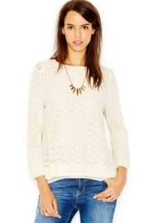 Lucky Brand Linen-Blend Crochet-Detail Layered Top
