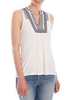 LUCKY BRAND Linen-Blend Printed-Bib Top