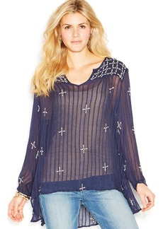Lucky Brand Long-Sleeve Embroidered Sheer Top