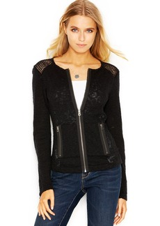 Lucky Brand Long-Sleeve Perforated Moto Sweater