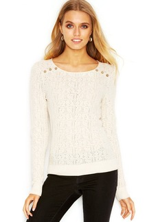 Lucky Brand Long-Sleeve Pointelle-Knit Sweater