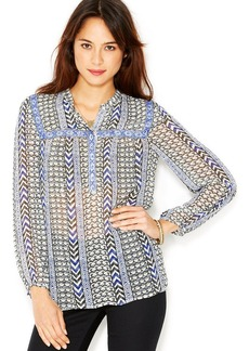 Lucky Brand Long-Sleeve Printed Semi-Sheer Top