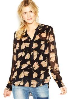 Lucky Brand Long-Sleeve Semi-Sheer Floral-Print Shirt