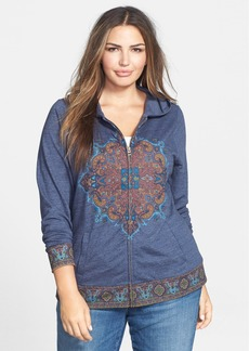 Lucky Brand 'Medallion' Front Zip Hoodie (Plus Size)
