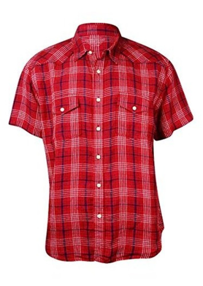 Lucky brand lucky brand men 39 s mesa linen western shirt for Branded shirts online sale