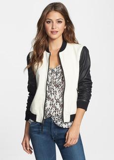 Lucky Brand 'Mercer' Jacquard & Leather Bomber Jacket