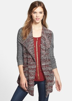 Lucky Brand Mixed Knit Drape Front Cardigan