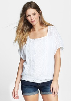 Lucky Brand Mixed Lace Cotton Peasant Top