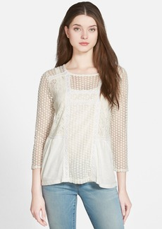 Lucky Brand Mixed Lace Peasant Top