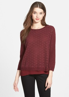 Lucky Brand Mixed Media Layered Look Pullover