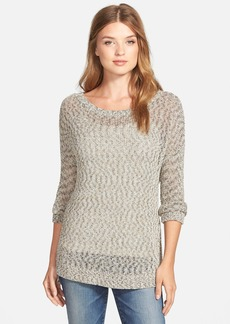 Lucky Brand Open Knit Marled Pullover