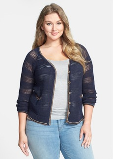 Lucky Brand Open Weave Cardigan (Plus Size)