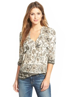 Lucky Brand 'Painted Scarf' Split Neck Top