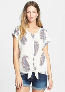 Lucky Brand Paisley Tie Front Cotton Top