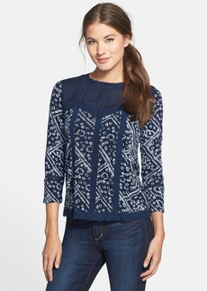 Lucky Brand Patchwork Lace & Batik Print Top