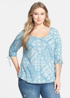 Lucky Brand 'Patchwork Tina' Cotton & Modal Top (Plus Size)