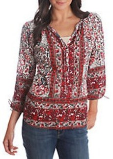 LUCKY BRAND Patterned Peasant Top
