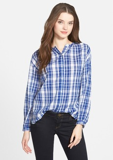 Lucky Brand Plaid Cotton Peasant Blouse