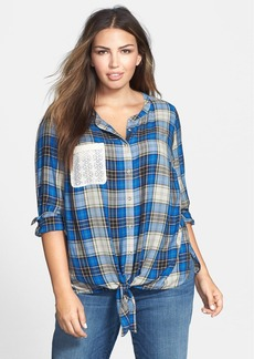 Lucky Brand Plaid Tie Front Top (Plus Size)