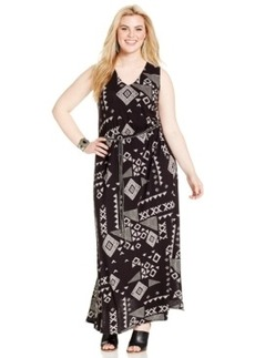 Lucky Brand Plus Size Belted Geo-Print Maxi Dress