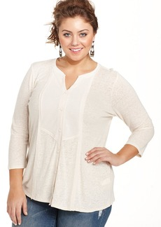 Lucky Brand Plus Size Bib-Front Top