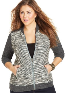 Lucky Brand Plus Size Colorblocked Bomber Cardigan