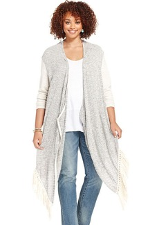 Lucky Brand Plus Size Colorblocked Fringed Cardigan