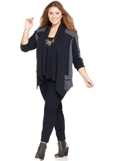 Lucky Brand Plus Size Colorblocked Open-Front Cardigan
