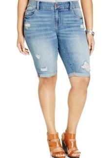 Lucky Brand Plus Size Distressed Denim Bermuda Shorts