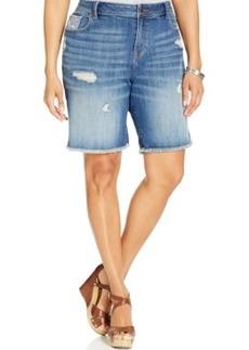 Lucky Brand Plus Size Distressed Denim Bermuda Shorts, Lapis Lazuli Wash