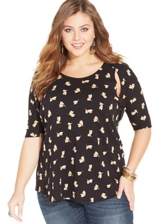 Lucky Brand Plus Size Elbow-Sleeve Cutout Printed Top
